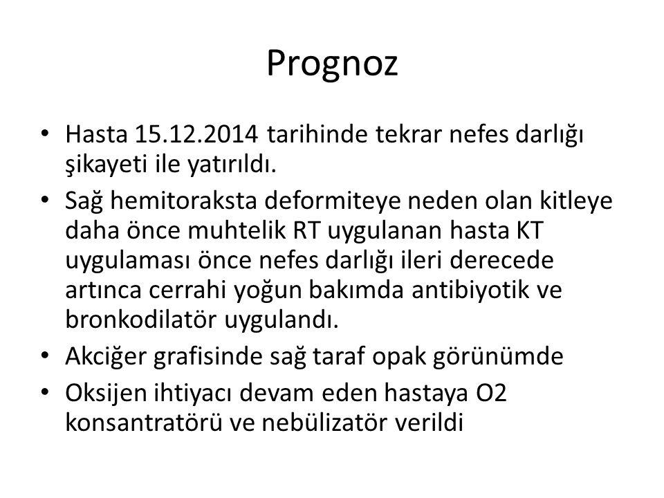Prognoz Hasta 15.12.2014 tarihinde tekrar nefes darlığı şikayeti ile yatırıldı.