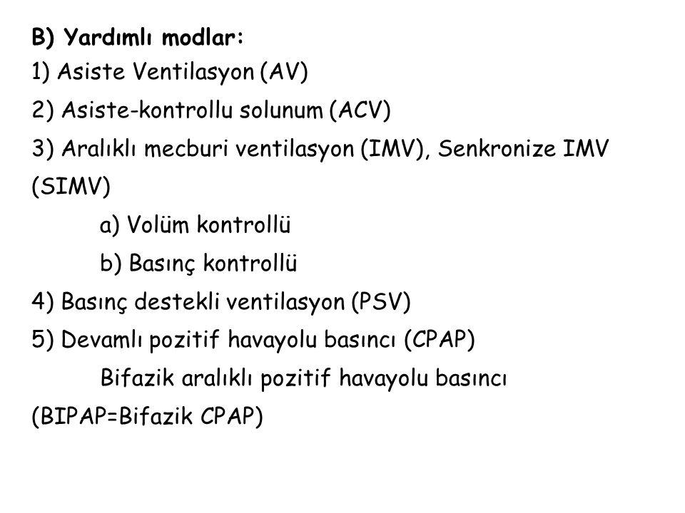 B) Yardımlı modlar: 1) Asiste Ventilasyon (AV) 2) Asiste-kontrollu solunum (ACV) 3) Aralıklı mecburi ventilasyon (IMV), Senkronize IMV (SIMV)