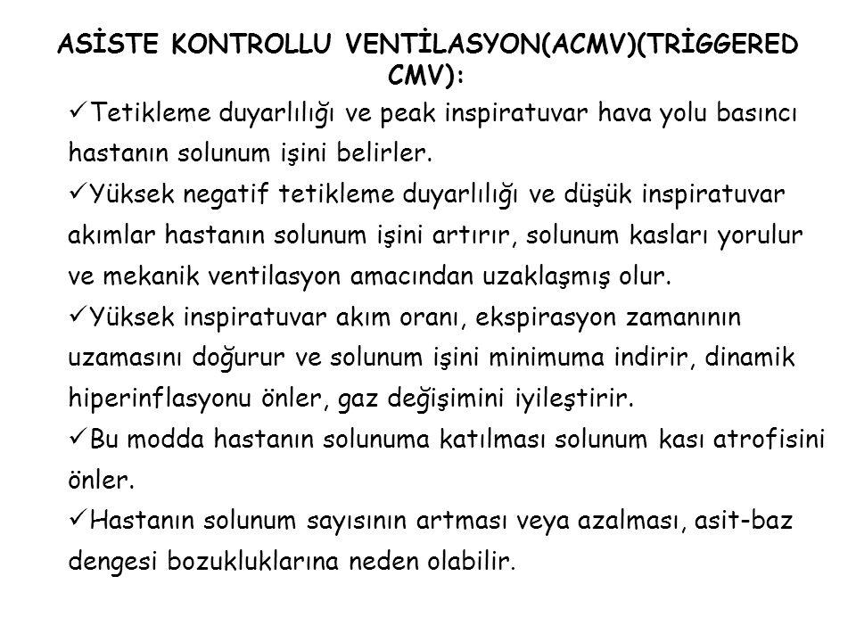 ASİSTE KONTROLLU VENTİLASYON(ACMV)(TRİGGERED CMV):