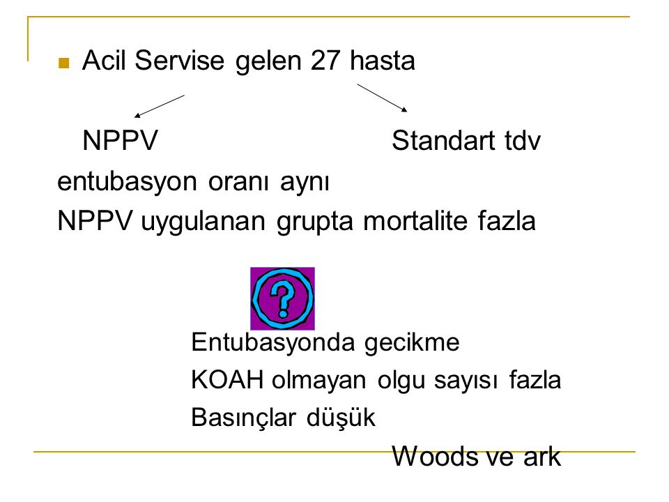 Acil Servise gelen 27 hasta NPPV Standart tdv entubasyon oranı aynı
