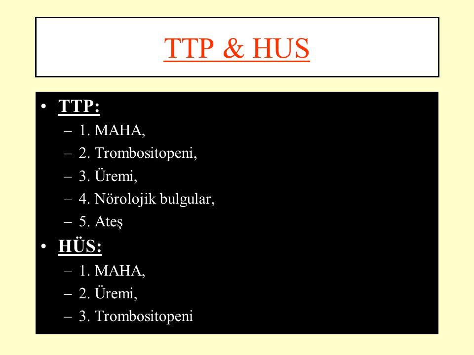 TTP & HUS TTP: HÜS: 1. MAHA, 2. Trombositopeni, 3. Üremi,