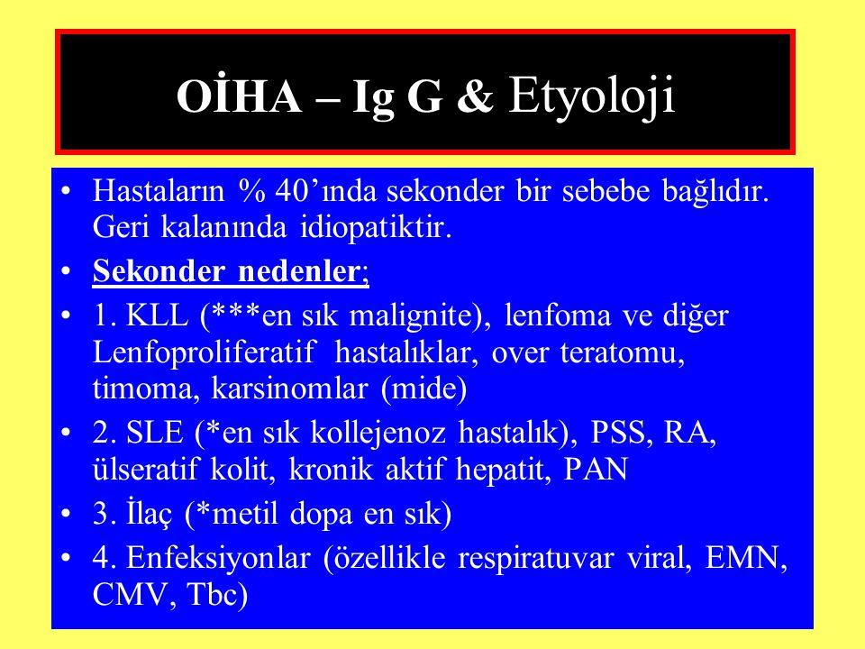 OİHA – Ig G & Etyoloji Hastaların % 40'ında sekonder bir sebebe bağlıdır. Geri kalanında idiopatiktir.