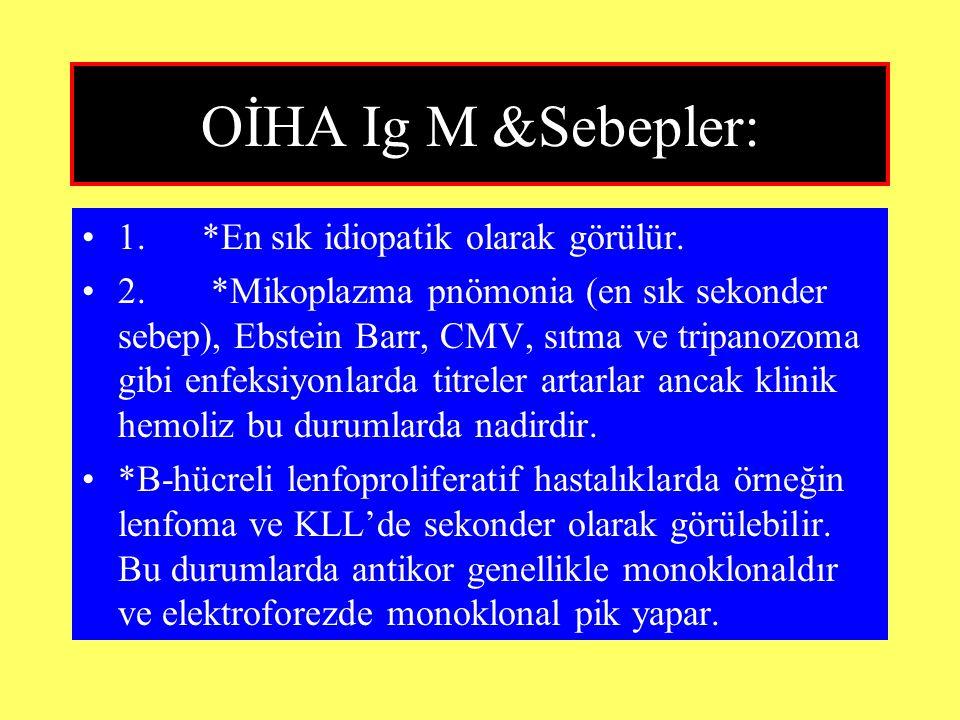 OİHA Ig M &Sebepler: 1. *En sık idiopatik olarak görülür.