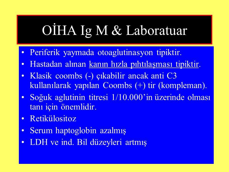 OİHA Ig M & Laboratuar Periferik yaymada otoaglutinasyon tipiktir.