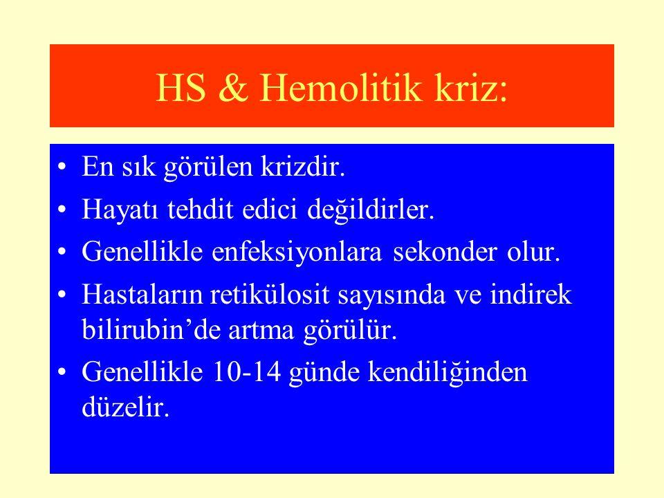HS & Hemolitik kriz: En sık görülen krizdir.