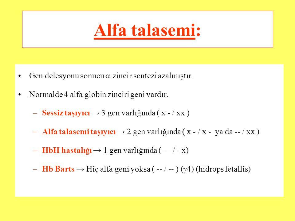 Alfa talasemi: Gen delesyonu sonucu  zincir sentezi azalmıştır.