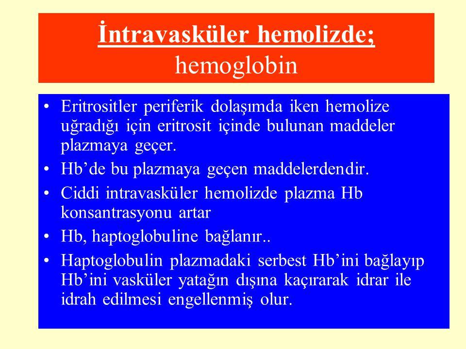 İntravasküler hemolizde; hemoglobin