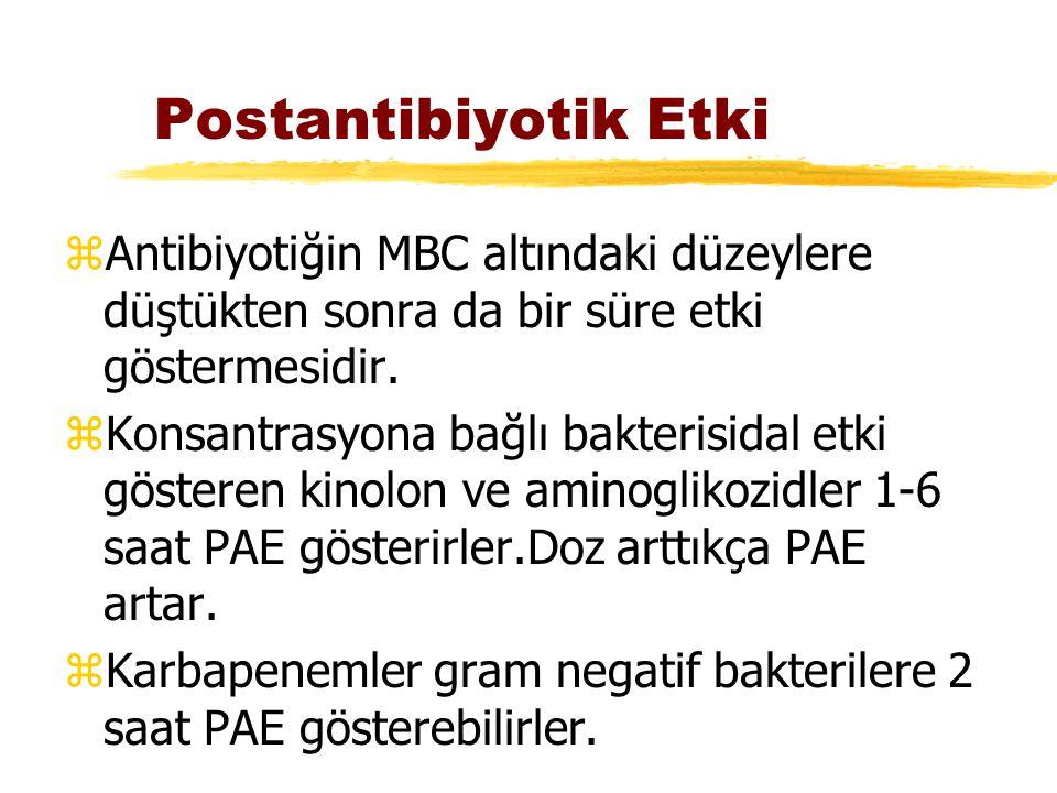 Postantibiyotik Etki Antibiyotiğin MBC altındaki düzeylere düştükten sonra da bir süre etki göstermesidir.