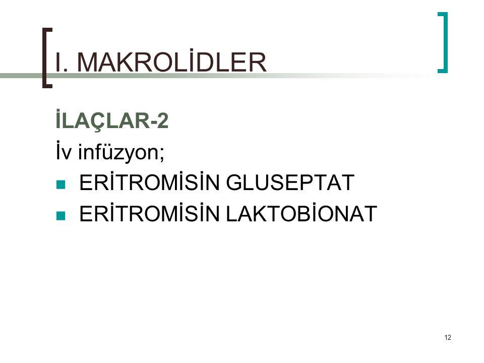 I. MAKROLİDLER İLAÇLAR-2 İv infüzyon; ERİTROMİSİN GLUSEPTAT