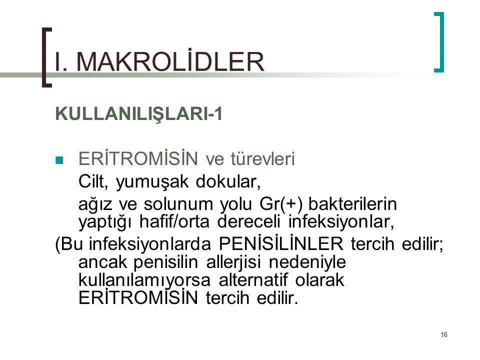 I. MAKROLİDLER KULLANILIŞLARI-1 ERİTROMİSİN ve türevleri