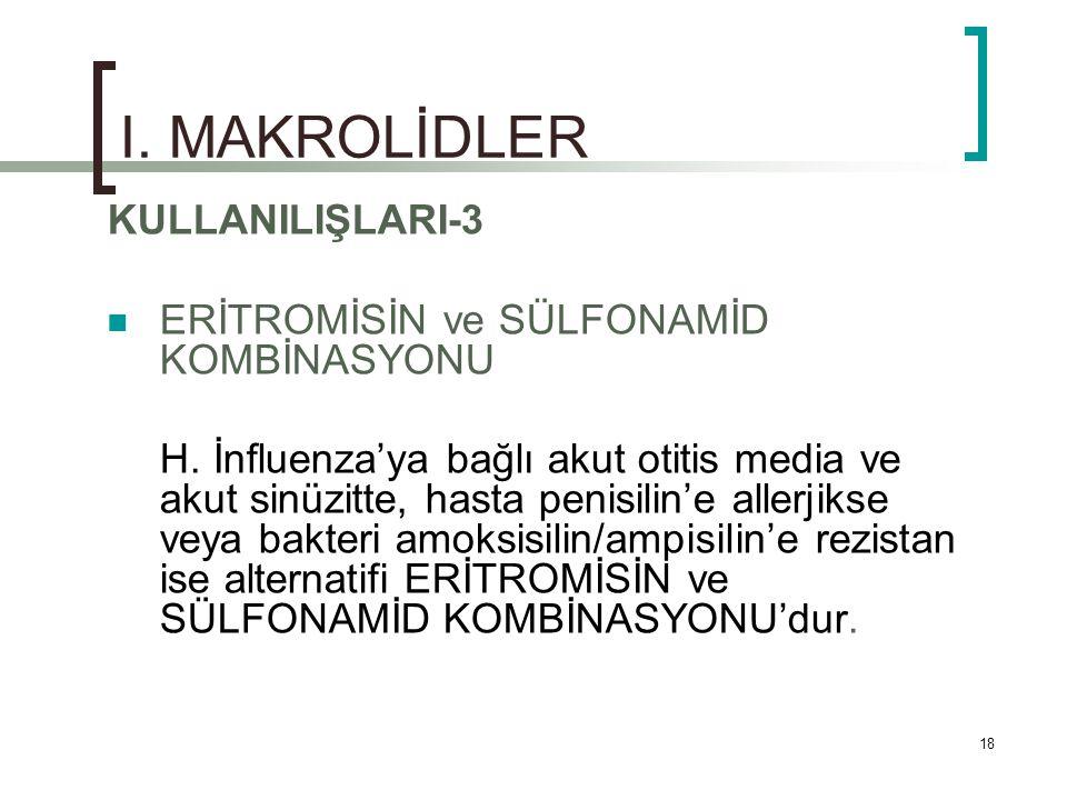 I. MAKROLİDLER KULLANILIŞLARI-3 ERİTROMİSİN ve SÜLFONAMİD KOMBİNASYONU