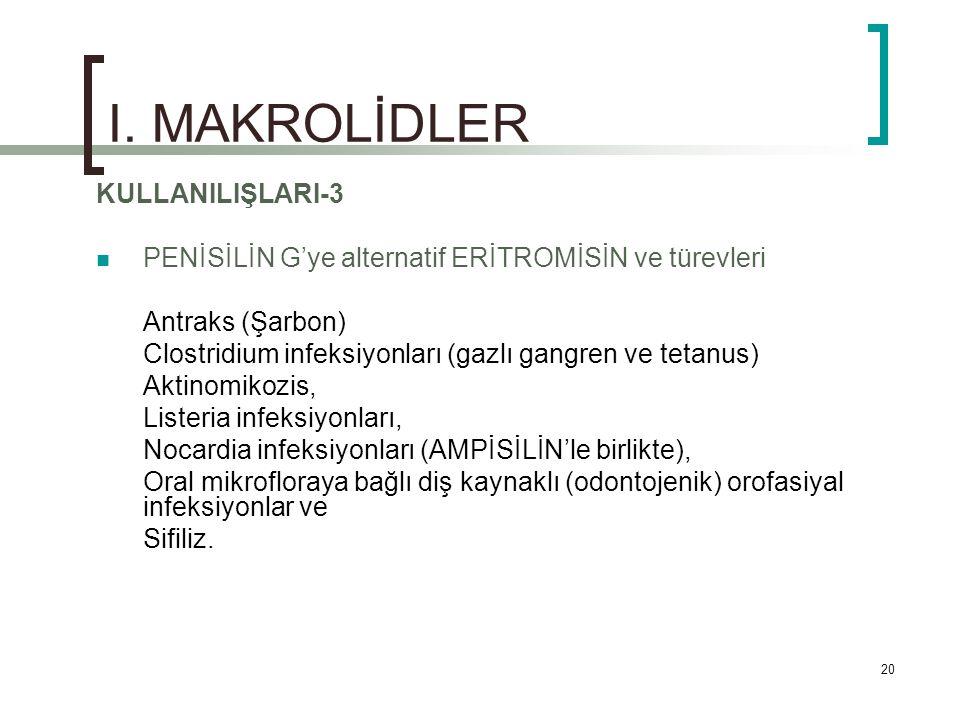 I. MAKROLİDLER KULLANILIŞLARI-3