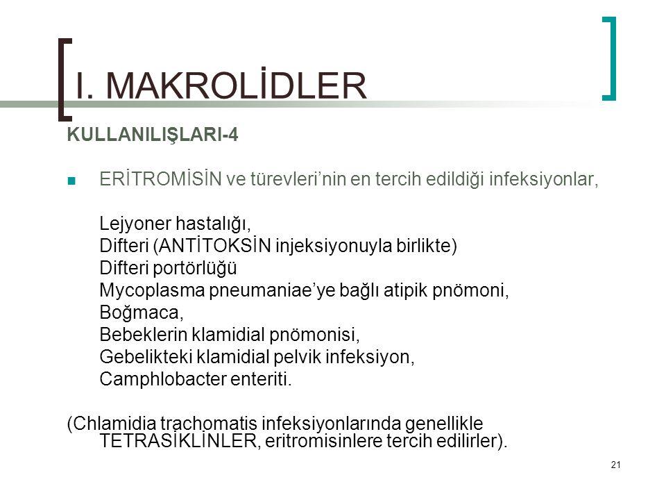 I. MAKROLİDLER KULLANILIŞLARI-4