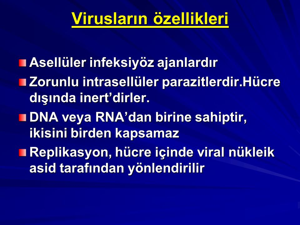 Virusların özellikleri