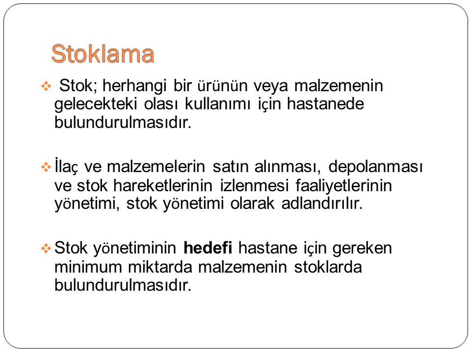 Stoklama Stok; herhangi bir ürünün veya malzemenin gelecekteki olası kullanımı için hastanede bulundurulmasıdır.