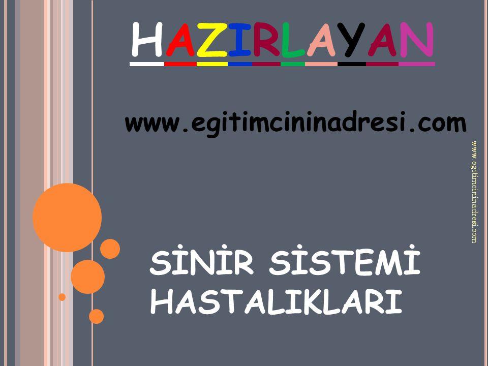 HAZIRLAYAN SİNİR SİSTEMİ HASTALIKLARI www.egitimcininadresi.com