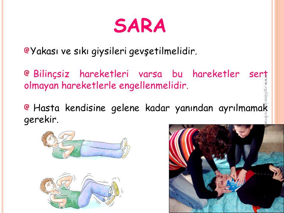 SARA Yakası ve sıkı giysileri gevşetilmelidir.