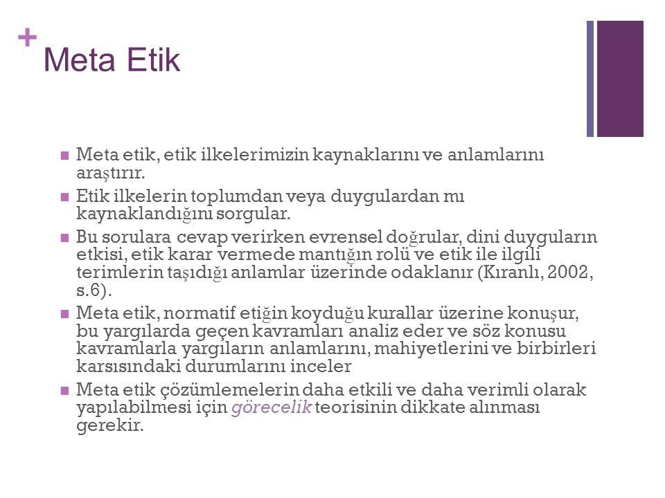 Meta Etik Meta etik, etik ilkelerimizin kaynaklarını ve anlamlarını araştırır.