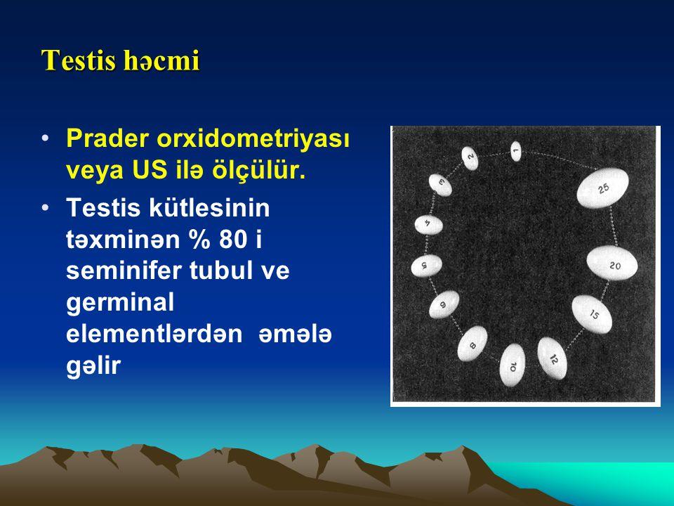 Testis həcmi Prader orxidometriyası veya US ilə ölçülür.