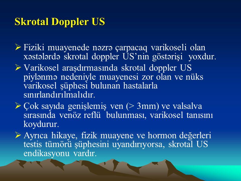 Skrotal Doppler US Fiziki muayenede nəzrə çarpacaq varikoseli olan xəstələrdə skrotal doppler US'nin göstərişi yoxdur.