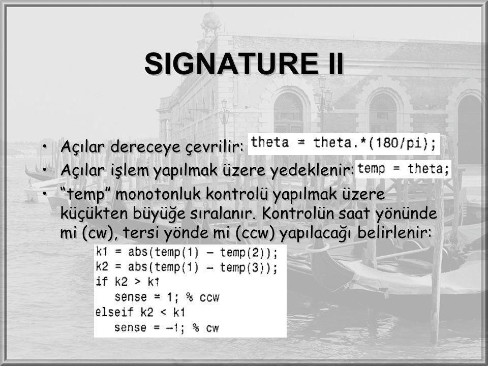 SIGNATURE II Açılar dereceye çevrilir: