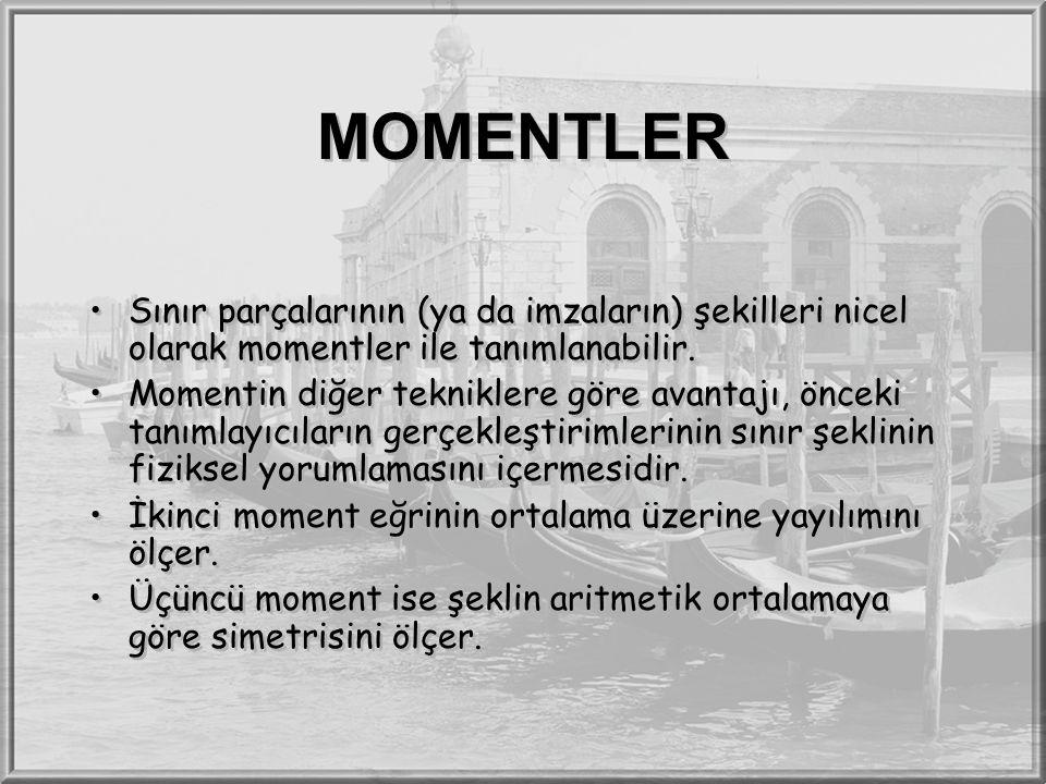 MOMENTLER Sınır parçalarının (ya da imzaların) şekilleri nicel olarak momentler ile tanımlanabilir.
