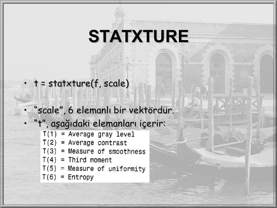 STATXTURE t = statxture(f, scale) scale , 6 elemanlı bir vektördür.