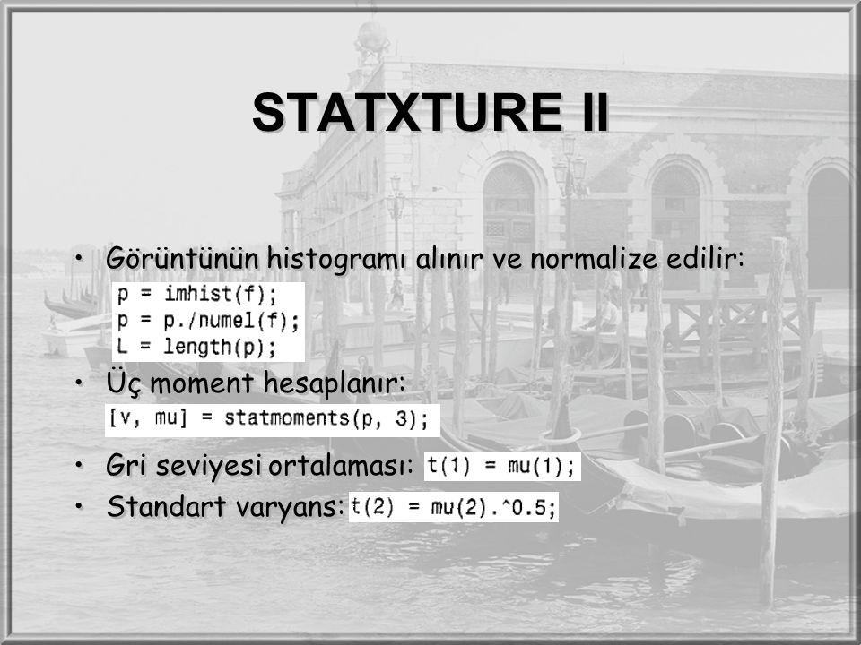 STATXTURE II Görüntünün histogramı alınır ve normalize edilir: