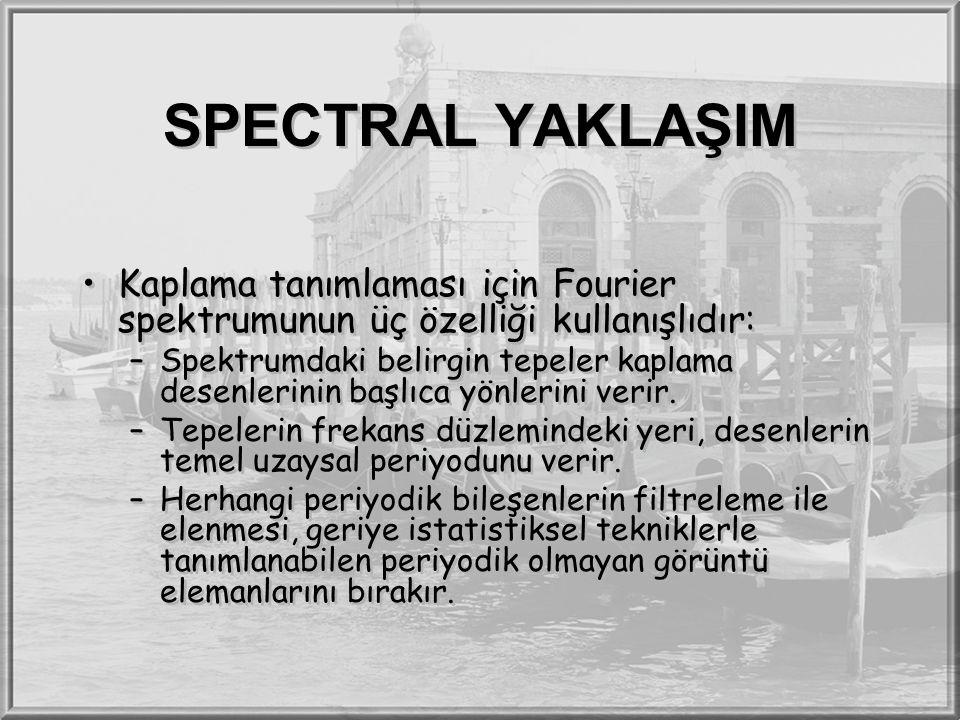 SPECTRAL YAKLAŞIM Kaplama tanımlaması için Fourier spektrumunun üç özelliği kullanışlıdır: