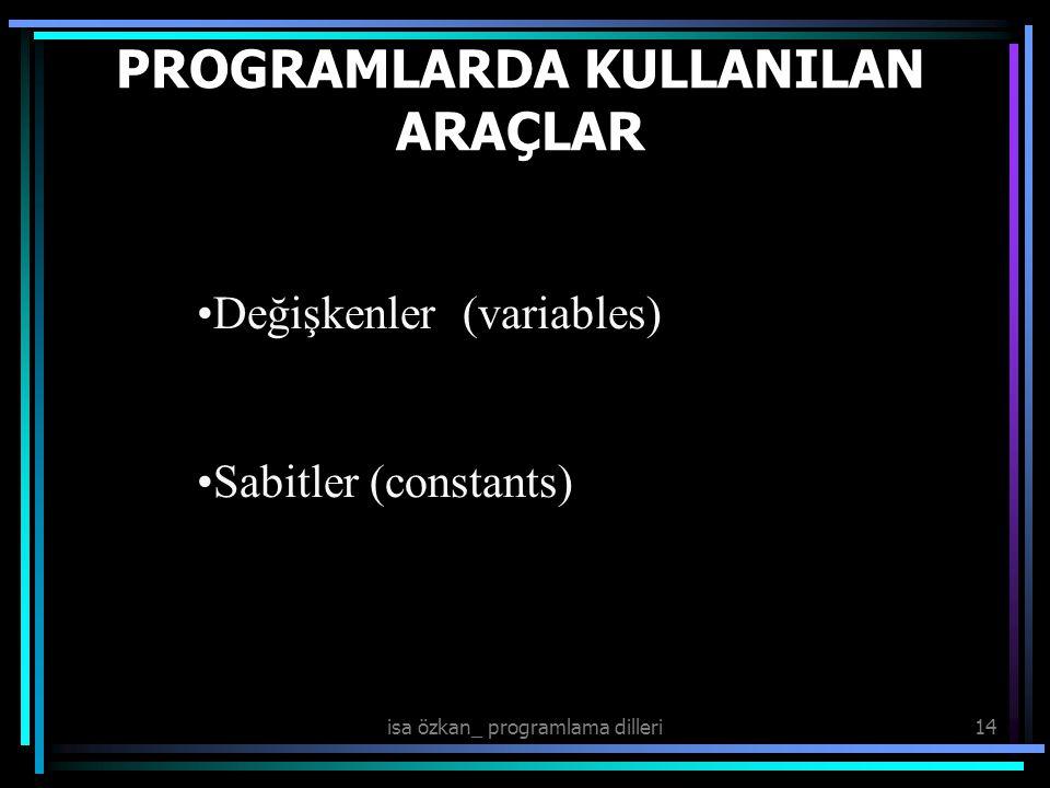 PROGRAMLARDA KULLANILAN ARAÇLAR