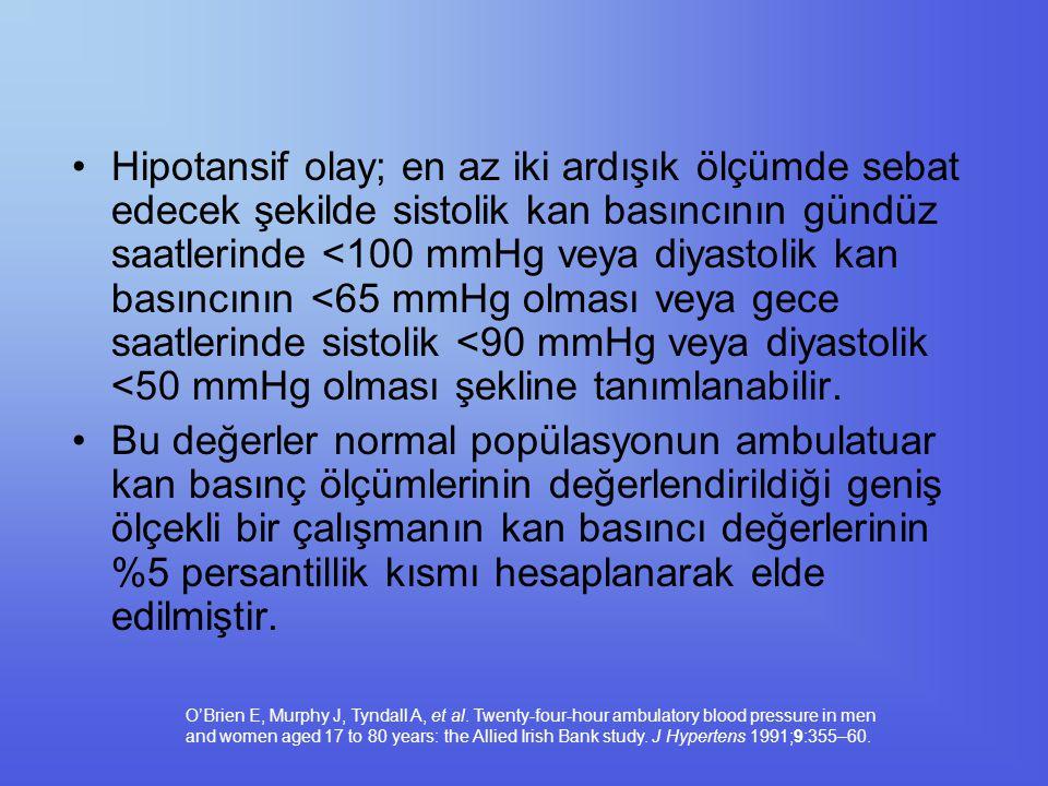 Hipotansif olay; en az iki ardışık ölçümde sebat edecek şekilde sistolik kan basıncının gündüz saatlerinde <100 mmHg veya diyastolik kan basıncının <65 mmHg olması veya gece saatlerinde sistolik <90 mmHg veya diyastolik <50 mmHg olması şekline tanımlanabilir.