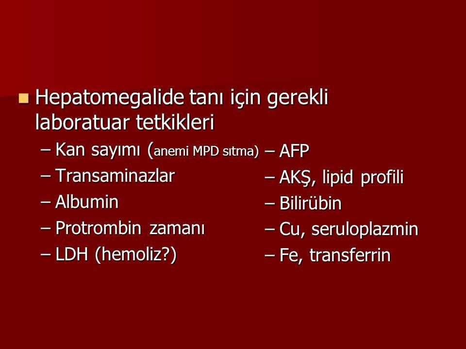 Hepatomegalide tanı için gerekli laboratuar tetkikleri