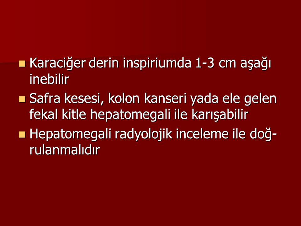 Karaciğer derin inspiriumda 1-3 cm aşağı inebilir