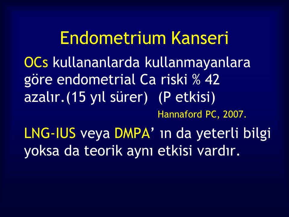 Endometrium Kanseri OCs kullananlarda kullanmayanlara göre endometrial Ca riski % 42 azalır.(15 yıl sürer) (P etkisi) Hannaford PC, 2007.