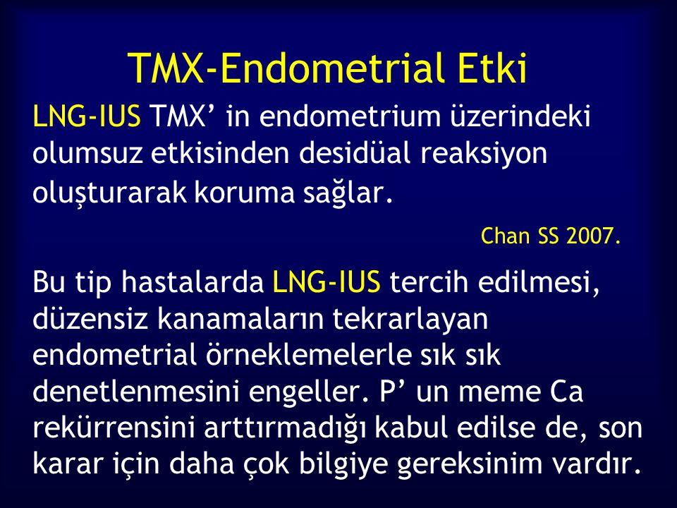 TMX-Endometrial Etki LNG-IUS TMX' in endometrium üzerindeki olumsuz etkisinden desidüal reaksiyon oluşturarak koruma sağlar. Chan SS 2007.