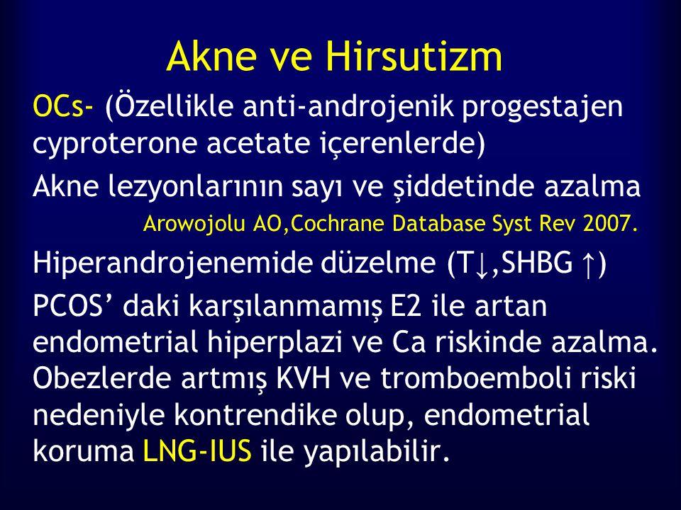 Akne ve Hirsutizm OCs- (Özellikle anti-androjenik progestajen cyproterone acetate içerenlerde) Akne lezyonlarının sayı ve şiddetinde azalma.