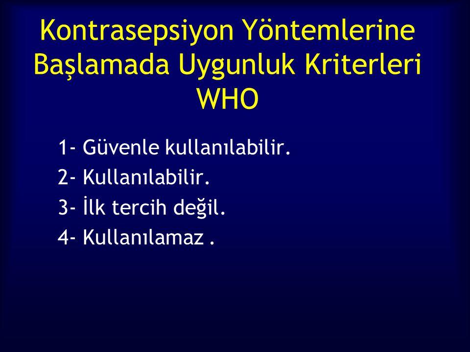 Kontrasepsiyon Yöntemlerine Başlamada Uygunluk Kriterleri WHO