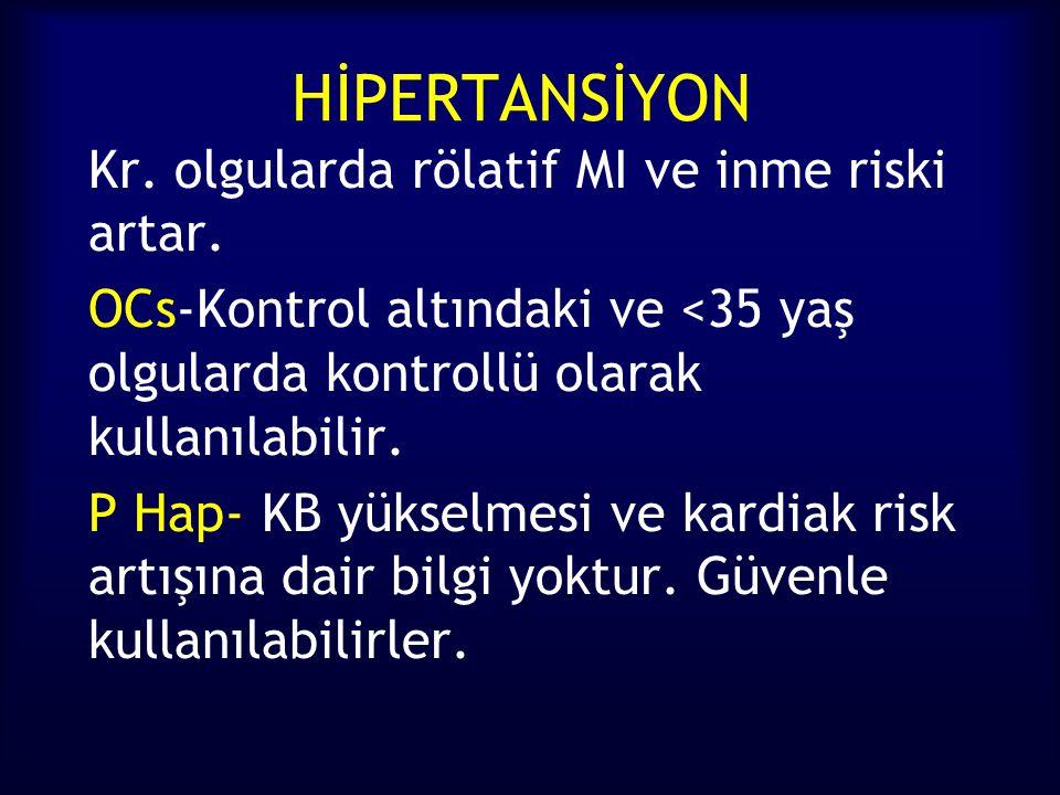 HİPERTANSİYON Kr. olgularda rölatif MI ve inme riski artar. OCs-Kontrol altındaki ve <35 yaş olgularda kontrollü olarak kullanılabilir.