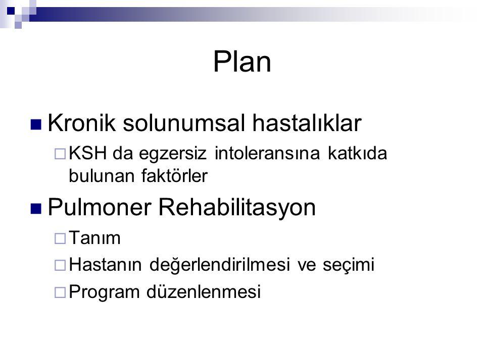 Plan Kronik solunumsal hastalıklar Pulmoner Rehabilitasyon