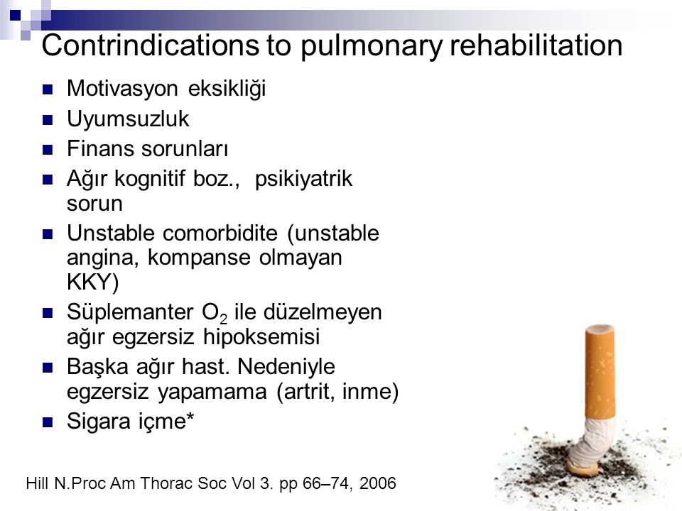 Contrindications to pulmonary rehabilitation