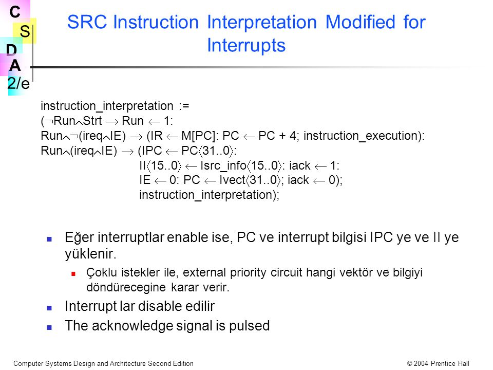 SRC Instruction Interpretation Modified for Interrupts