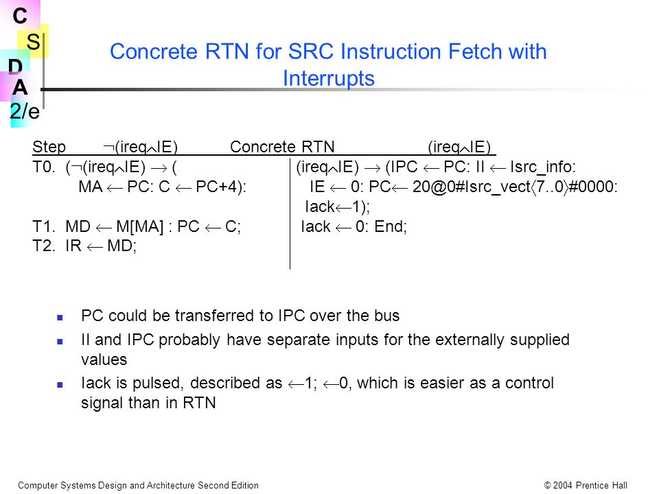 Concrete RTN for SRC Instruction Fetch with Interrupts