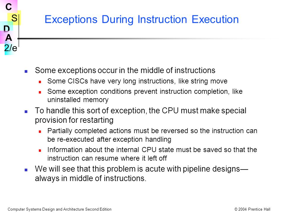Exceptions During Instruction Execution