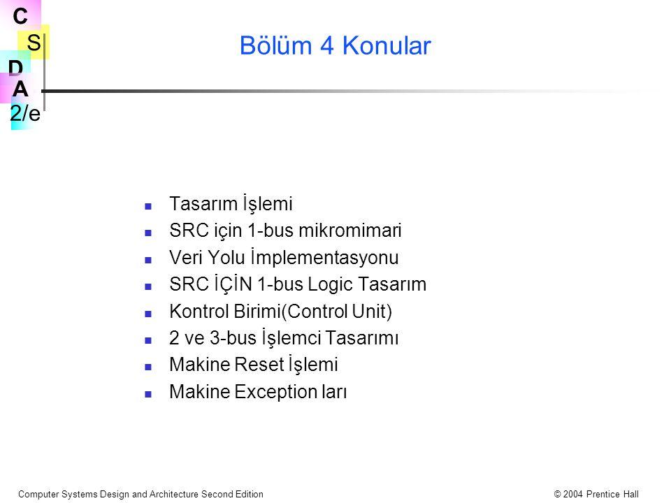 Bölüm 4 Konular Tasarım İşlemi SRC için 1-bus mikromimari