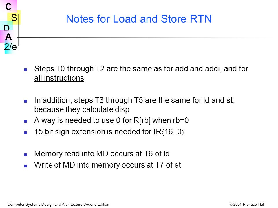 Notes for Load and Store RTN