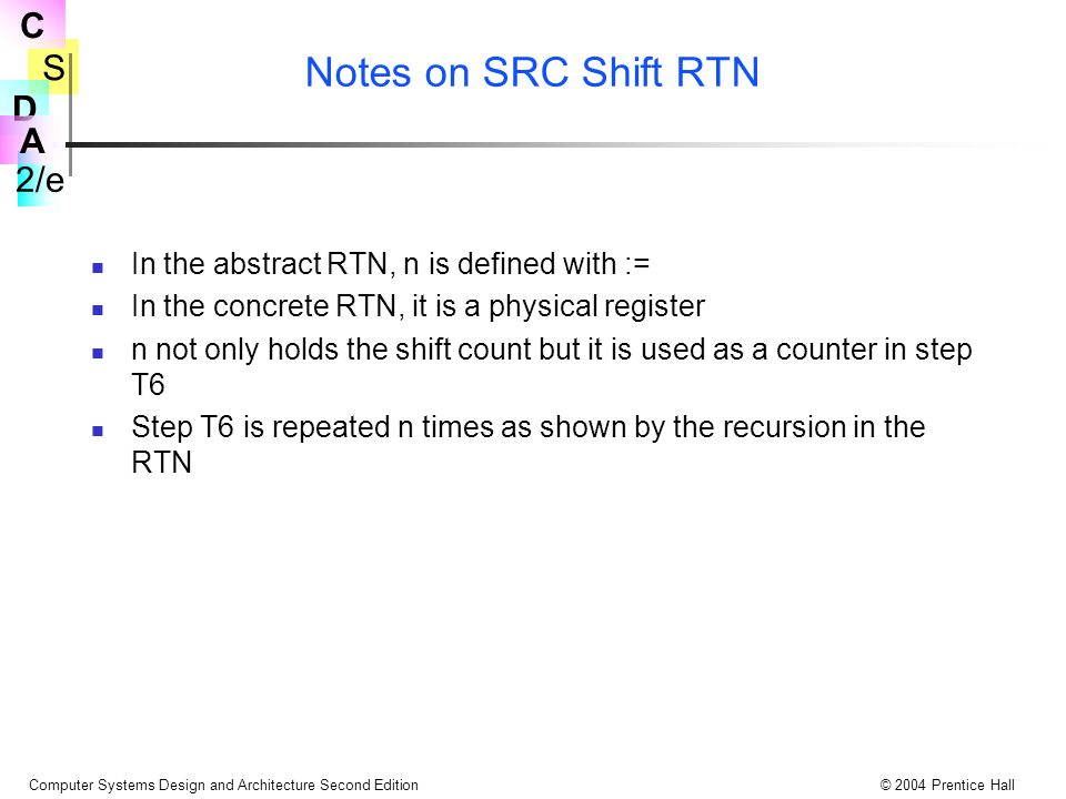 Notes on SRC Shift RTN In the abstract RTN, n is defined with :=