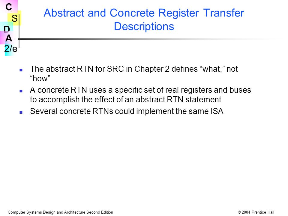 Abstract and Concrete Register Transfer Descriptions