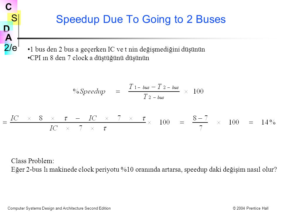 Speedup Due To Going to 2 Buses