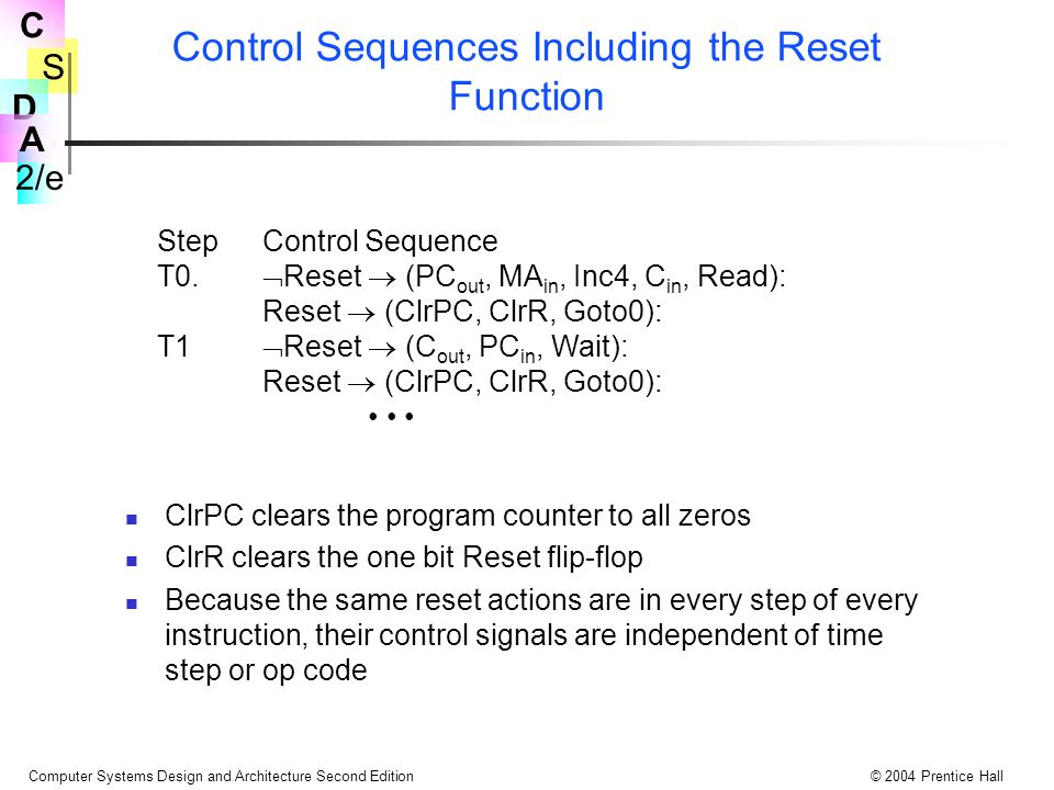 Control Sequences Including the Reset Function