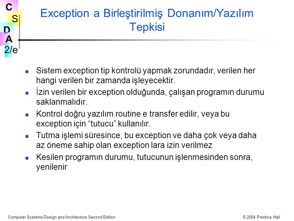Exception a Birleştirilmiş Donanım/Yazılım Tepkisi
